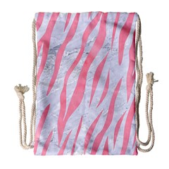 Skin3 White Marble & Pink Watercolor (r) Drawstring Bag (large) by trendistuff