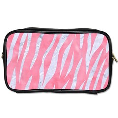 Skin3 White Marble & Pink Watercolor Toiletries Bags by trendistuff