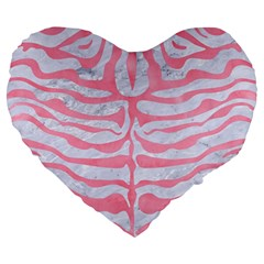 Skin2 White Marble & Pink Watercolor (r) Large 19  Premium Heart Shape Cushions by trendistuff