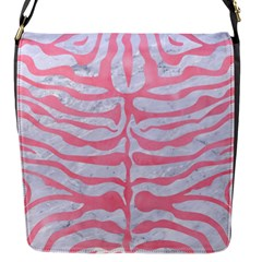 Skin2 White Marble & Pink Watercolor (r) Flap Messenger Bag (s) by trendistuff