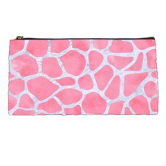 Skin1 White Marble & Pink Watercolor (r) Pencil Cases by trendistuff