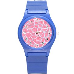 Skin1 White Marble & Pink Watercolor (r) Round Plastic Sport Watch (s) by trendistuff