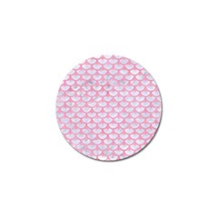 Scales3 White Marble & Pink Watercolor (r) Golf Ball Marker by trendistuff