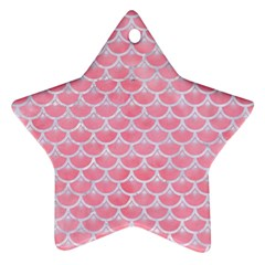 Scales3 White Marble & Pink Watercolor Star Ornament (two Sides) by trendistuff