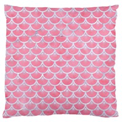 Scales3 White Marble & Pink Watercolor Large Cushion Case (two Sides) by trendistuff