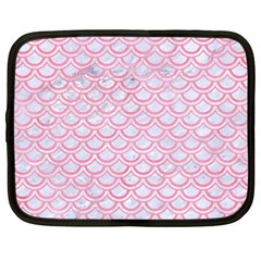 Scales2 White Marble & Pink Watercolor (r) Netbook Case (large) by trendistuff