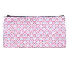 Scales2 White Marble & Pink Watercolor (r) Pencil Cases by trendistuff