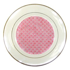 Scales2 White Marble & Pink Watercolor Porcelain Plates by trendistuff