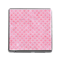 Scales2 White Marble & Pink Watercolor Memory Card Reader (square) by trendistuff