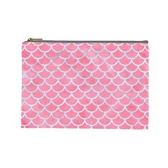 Scales1 White Marble & Pink Watercolor Cosmetic Bag (large)  by trendistuff