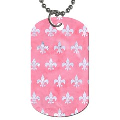 Royal1 White Marble & Pink Watercolor (r) Dog Tag (two Sides) by trendistuff