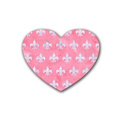 Royal1 White Marble & Pink Watercolor (r) Rubber Coaster (heart)  by trendistuff