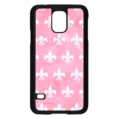 Royal1 White Marble & Pink Watercolor (r) Samsung Galaxy S5 Case (black) by trendistuff