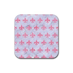 Royal1 White Marble & Pink Watercolor Rubber Square Coaster (4 Pack)  by trendistuff