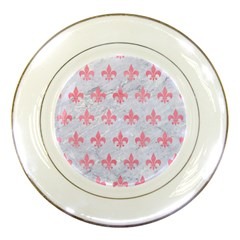 Royal1 White Marble & Pink Watercolor Porcelain Plates by trendistuff