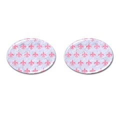 Royal1 White Marble & Pink Watercolor Cufflinks (oval) by trendistuff