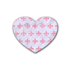 Royal1 White Marble & Pink Watercolor Heart Coaster (4 Pack)  by trendistuff