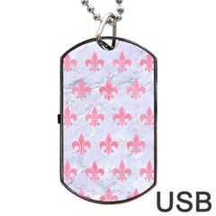 Royal1 White Marble & Pink Watercolor Dog Tag Usb Flash (one Side) by trendistuff