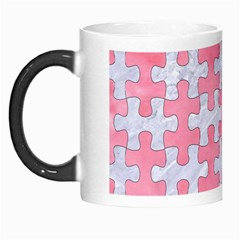 Puzzle1 White Marble & Pink Watercolor Morph Mugs by trendistuff