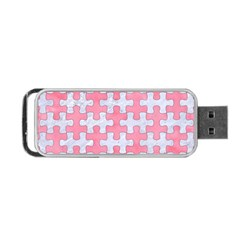 Puzzle1 White Marble & Pink Watercolor Portable Usb Flash (one Side) by trendistuff