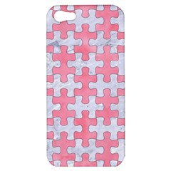 Puzzle1 White Marble & Pink Watercolor Apple Iphone 5 Hardshell Case by trendistuff