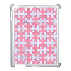 Puzzle1 White Marble & Pink Watercolor Apple Ipad 3/4 Case (white)