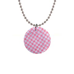 Houndstooth2 White Marble & Pink Watercolor Button Necklaces