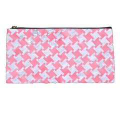 Houndstooth2 White Marble & Pink Watercolor Pencil Cases by trendistuff