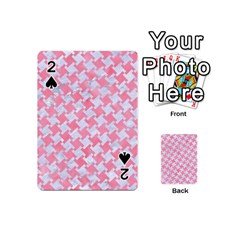 Houndstooth2 White Marble & Pink Watercolor Playing Cards 54 (mini)  by trendistuff