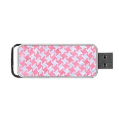 Houndstooth2 White Marble & Pink Watercolor Portable Usb Flash (one Side) by trendistuff