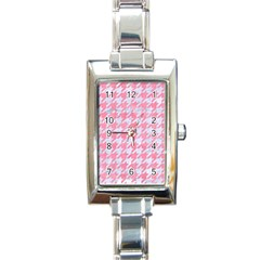 Houndstooth1 White Marble & Pink Watercolor Rectangle Italian Charm Watch by trendistuff