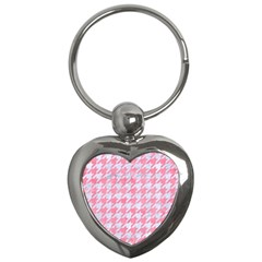 Houndstooth1 White Marble & Pink Watercolor Key Chains (heart)  by trendistuff