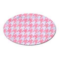 Houndstooth1 White Marble & Pink Watercolor Oval Magnet by trendistuff