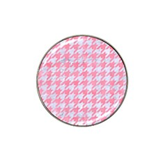 Houndstooth1 White Marble & Pink Watercolor Hat Clip Ball Marker by trendistuff