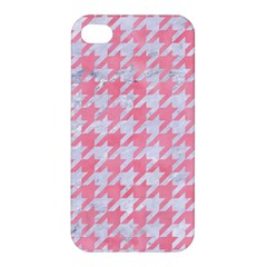 Houndstooth1 White Marble & Pink Watercolor Apple Iphone 4/4s Hardshell Case by trendistuff