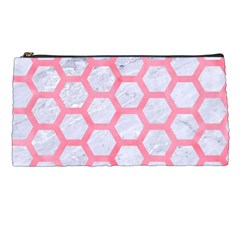 Hexagon2 White Marble & Pink Watercolor (r) Pencil Cases by trendistuff