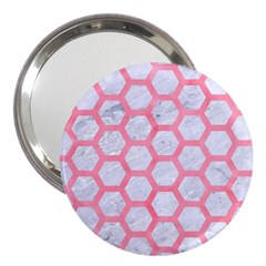 Hexagon2 White Marble & Pink Watercolor (r) 3  Handbag Mirrors by trendistuff
