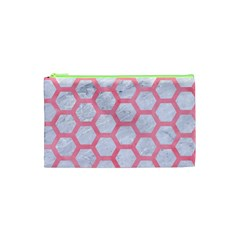 Hexagon2 White Marble & Pink Watercolor (r) Cosmetic Bag (xs) by trendistuff