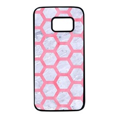 Hexagon2 White Marble & Pink Watercolor (r) Samsung Galaxy S7 Black Seamless Case