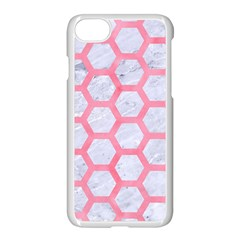 Hexagon2 White Marble & Pink Watercolor (r) Apple Iphone 7 Seamless Case (white) by trendistuff