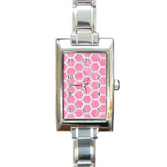 Hexagon2 White Marble & Pink Watercolor Rectangle Italian Charm Watch by trendistuff