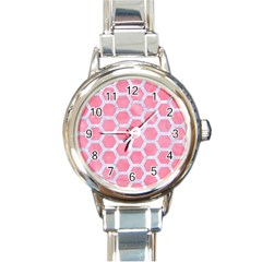 HEXAGON2 WHITE MARBLE & PINK WATERCOLOR Round Italian Charm Watch