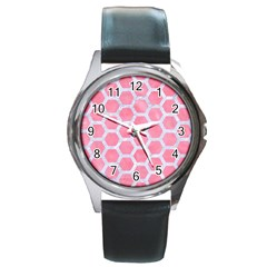 HEXAGON2 WHITE MARBLE & PINK WATERCOLOR Round Metal Watch