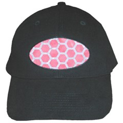HEXAGON2 WHITE MARBLE & PINK WATERCOLOR Black Cap
