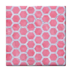 HEXAGON2 WHITE MARBLE & PINK WATERCOLOR Tile Coasters