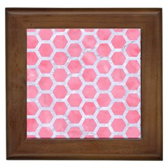 HEXAGON2 WHITE MARBLE & PINK WATERCOLOR Framed Tiles