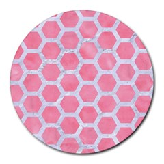 HEXAGON2 WHITE MARBLE & PINK WATERCOLOR Round Mousepads