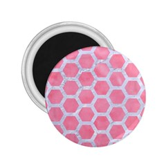 HEXAGON2 WHITE MARBLE & PINK WATERCOLOR 2.25  Magnets