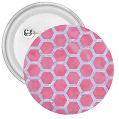 HEXAGON2 WHITE MARBLE & PINK WATERCOLOR 3  Buttons