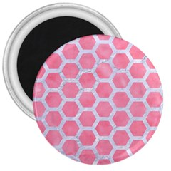 HEXAGON2 WHITE MARBLE & PINK WATERCOLOR 3  Magnets